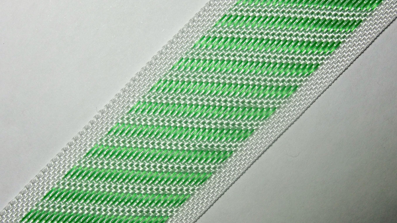 35мм Лента для отделки матрасов р.3388 бел/зеленая