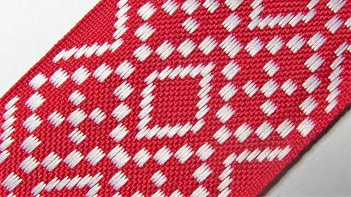 50мм Лента с орнаментом р.2948 красная/белая