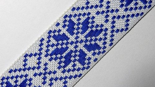 25мм Лента с орнаментом р.2984 белая/синяя