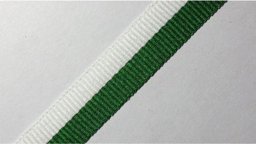 15мм Лента окантовочная репсовая р.2467 бел/зеленая