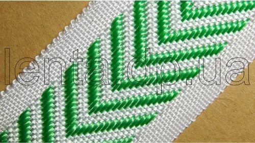 40мм Лента для отделки матрасов р.2698 бел/зеленая (40мм)