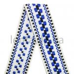 20мм Лента с орнаментом р.3120 белая/черная/синяя