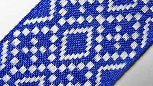 50мм Лента с орнаментом р.2948 синяя/белая