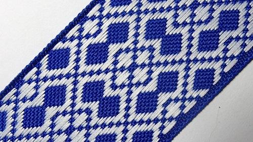 40мм Лента с орнаментом р.2950 синяя/белая