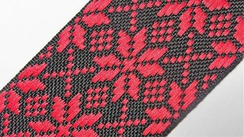 40мм Лента с орнаментом р.2958 красная/черная