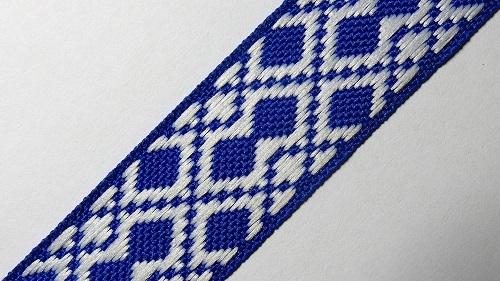 20мм Лента с орнаментом р.2952 синяя/белая