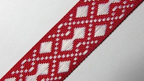 20мм Лента с орнаментом р.2952 красная/белая