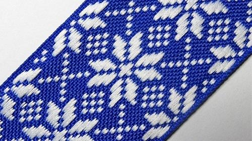 40мм Лента с орнаментом р.2958 синяя белая
