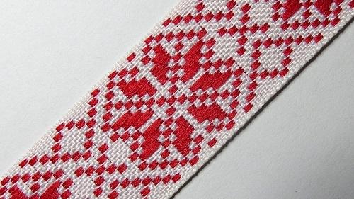 25мм Лента с орнаментом р.2984 белая/красная