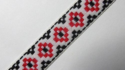 17мм Лента с орнаментом р.3002 белая/красная/черная