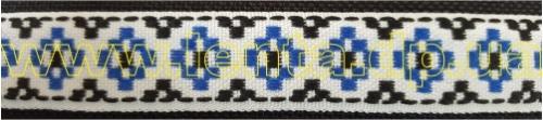 17мм Лента с орнаментом р.3002 белая/синяя/черная