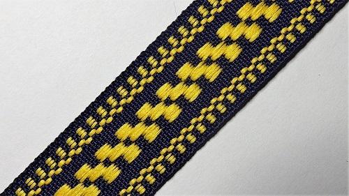 20мм Лента с орнаментом р.3120 т.синяя/желтая