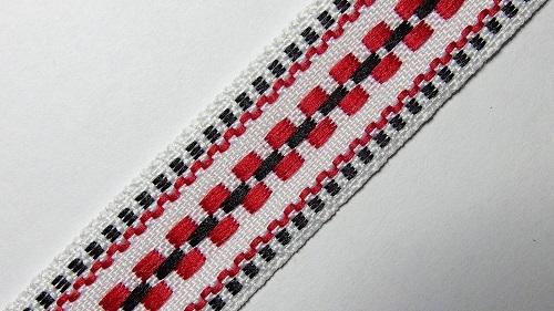 20мм Лента с орнаментом р.3120 белая/черная/красная