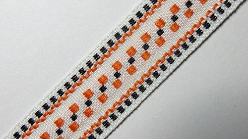 20мм Лента с орнаментом р.3120 белая/черная/оранж