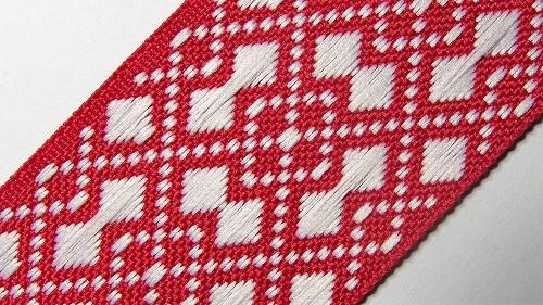 40мм Лента с орнаментом р.2950 красная/белая