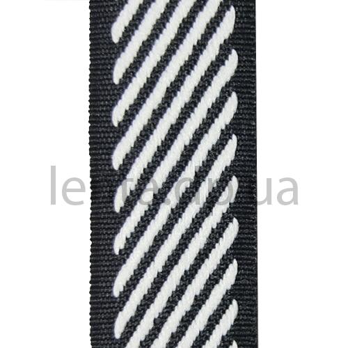 28мм Лента окантовочная р.3152 черная/белая